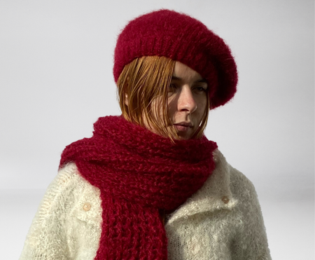 écharpe tricotin, chapreau  et gants